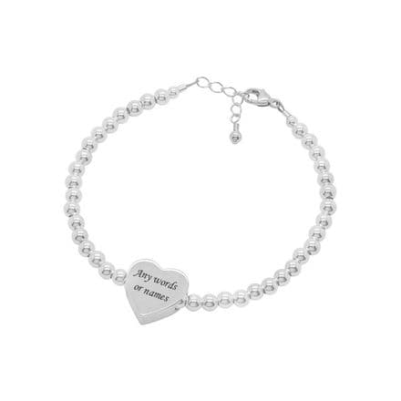 Personalised Bracelet with Silver Heart Bead
