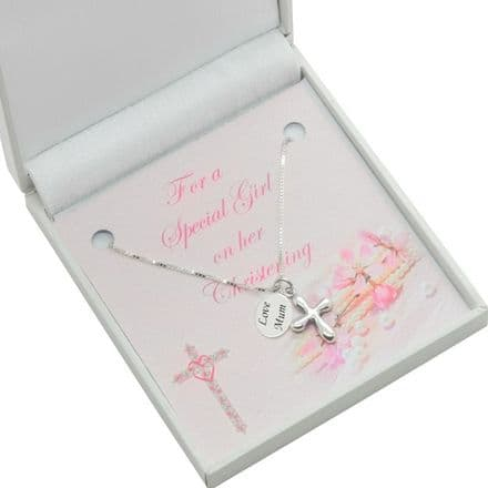 Personalised Christening Necklace for Girl, Sterling Silver