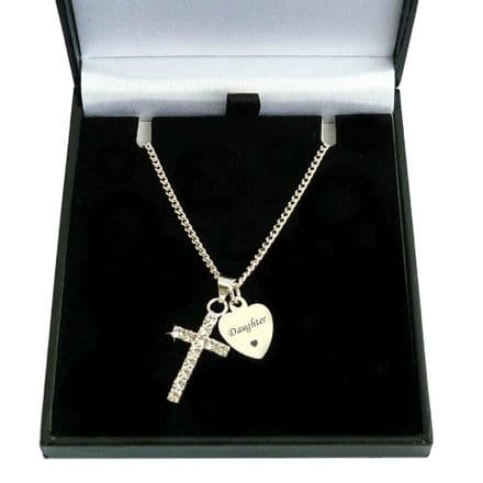 Personalised Cross and Tag Necklace, First Holy Communion Gift