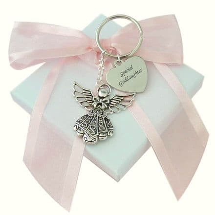 Personalised Guardian Angel Keyring with Any Engraving