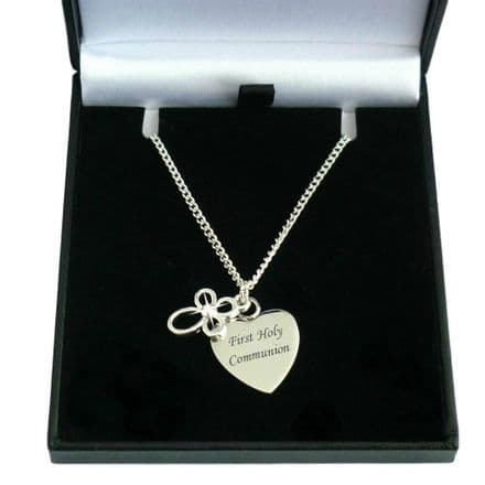 Personalised Heart and Cross Girls Communion Necklace