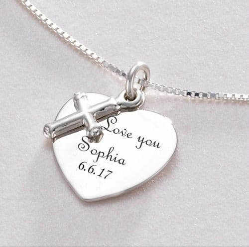 Personalised Heart and cross Necklace in Sterling Silver | Jewels 4 Girls
