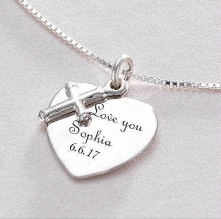 Personalised Heart and cross Necklace - Sterling Silver