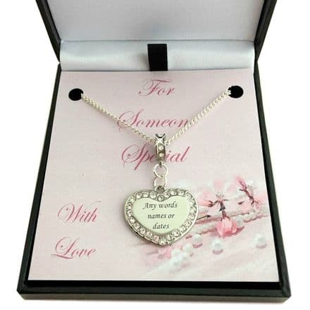 Personalised Heart Necklace in Box for Mum, Daughter etc