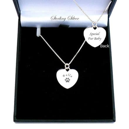 Personalised  Heart Necklace in Sterling  Silver for Pet Lovers.