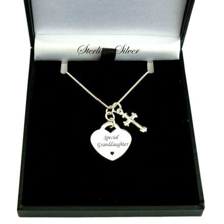 Personalised Heart Necklace with Cross, Sterling Silver