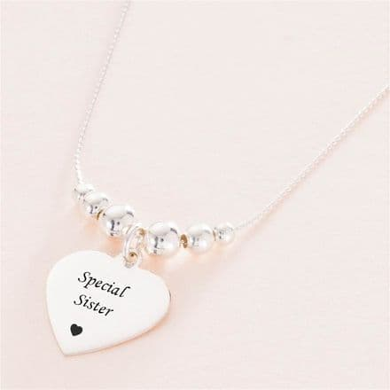 Personalised Heart Necklace with Silver Beads