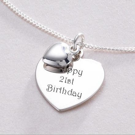 Personalised Heart on Heart Necklace - Sterling Silver