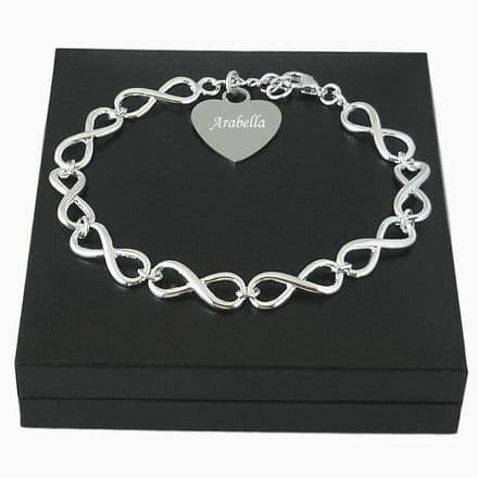 Personalised Infinity Link Bracelet with Engraved Heart Charm