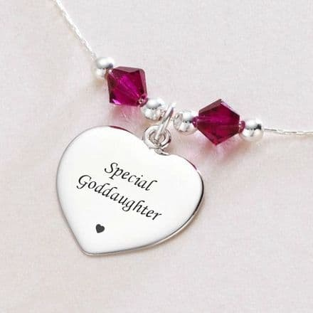 Personalised Necklace with Birthstones & Engraving.