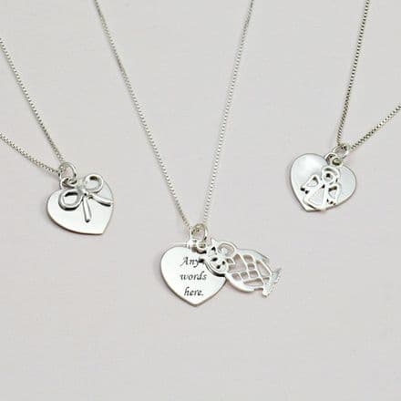 Personalised Necklace with Charm Choice - Sterling Silver