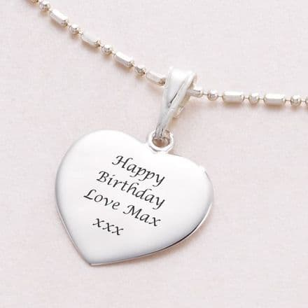 Personalised Necklace with Engraved Heart - Stg Silver