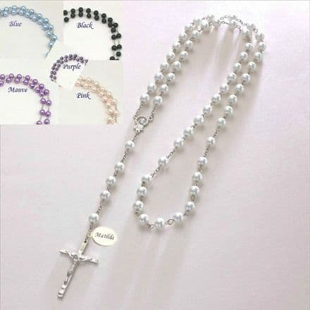 Personalised Pearl Rosary Beads in Gift Box and Engraving