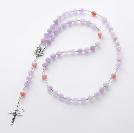 Personalised Rosary Amethyst and Pearl