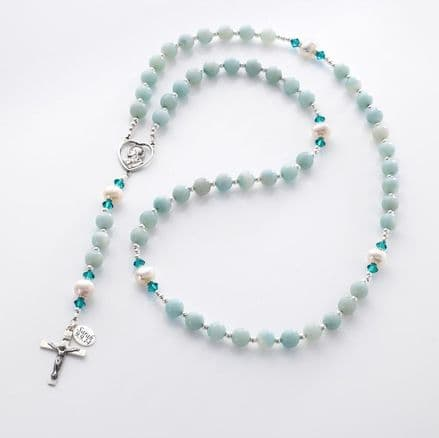 Personalised Rosary Beads Amazonite & Pearl