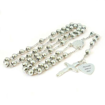 Personalised Rosary Beads, Very High Quality, Silver Steel Beads