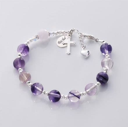 Personalised Rosary Bracelet, Fluorite and Rose Quartz