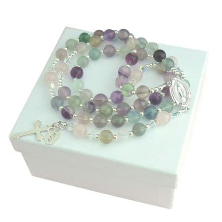Personalised Rosary Fluorite and Rose Quartz