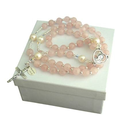 Personalised Rosary - Rose Quartz and Pearl