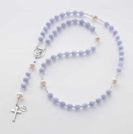 Personalised Rosary with Blue Lace Agate & Freshwater Pearls