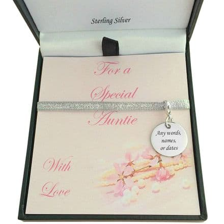 Personalised Round Charm Gift Boxed for Auntie, Mum, Sister etc