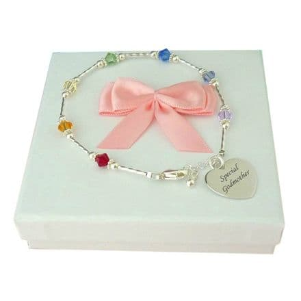 Personalised Silver Bracelet with Rainbow Colours