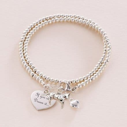 Personalised Silver Wrap Bracelet with Horse Charm