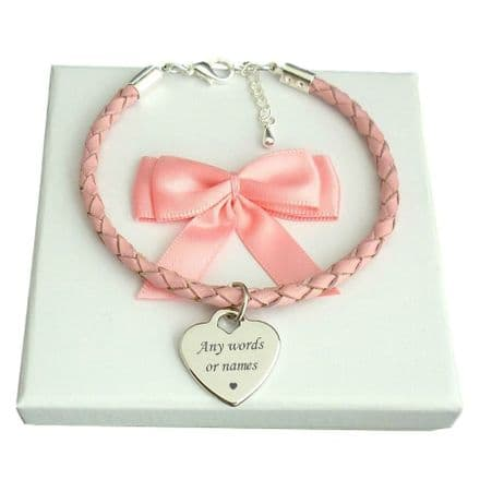 Pink Leather Personalised Bracelet, Any Engraving