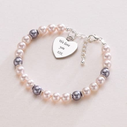Pink & Lilac Pearl Bracelet with Engraved Heart