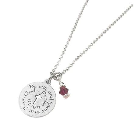 Psalm 46 10 Necklace with Birthstone