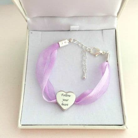 Ribbon Bracelet with Engraving on 925 Silver Heart Bead