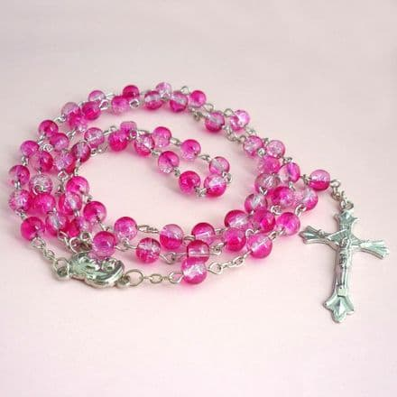 Rosary Beads for Children, Hot Pink