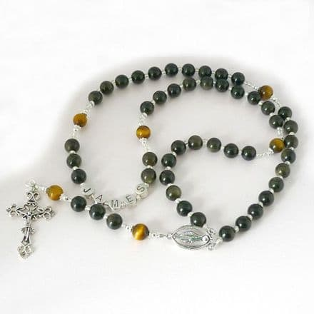 Rosary Beads with Any Name, Black Obsidian Gemstones