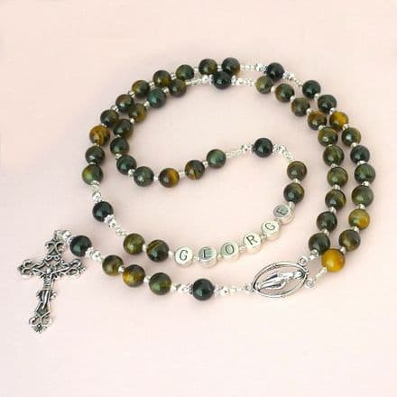 Rosary Beads with Any Name, Tigers Eye Gemstones