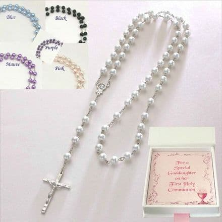 Rosary Beads with Choice of Bead Colour & Gift Box