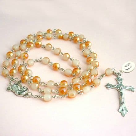 Rosary Beads with Engraving, Peach
