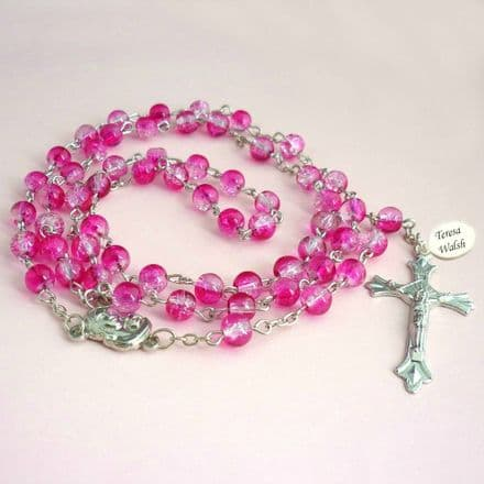 Rosary Beads with Engraving, Pink