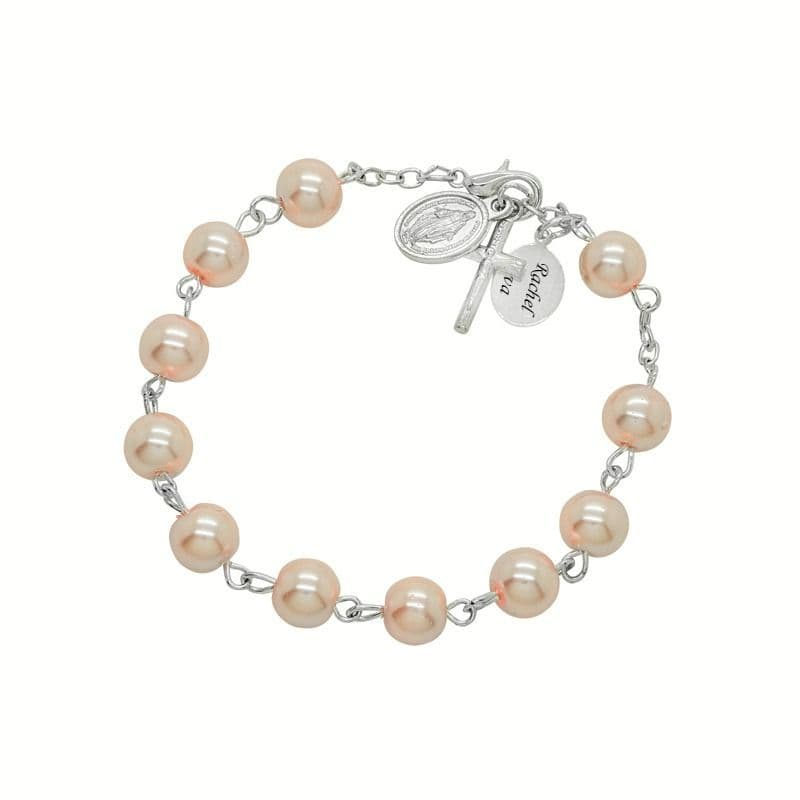 Rosary Bracelet in Pale Pink with Engraving | Jewels 4 Girls