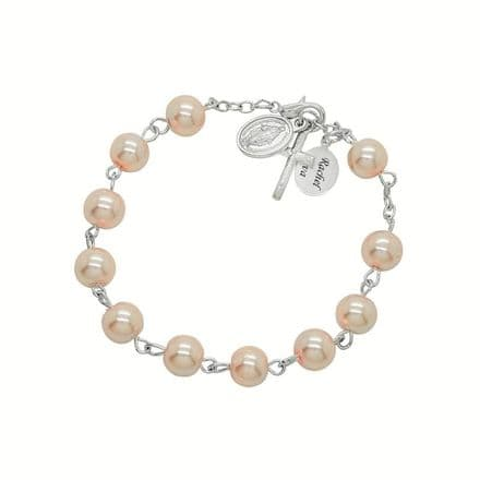 Rosary Bracelet in Pale Pink with Engraving