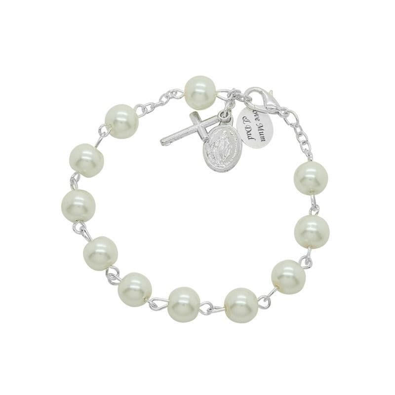 Rosary Bracelet in White with Engraving | Jewels 4 Girls