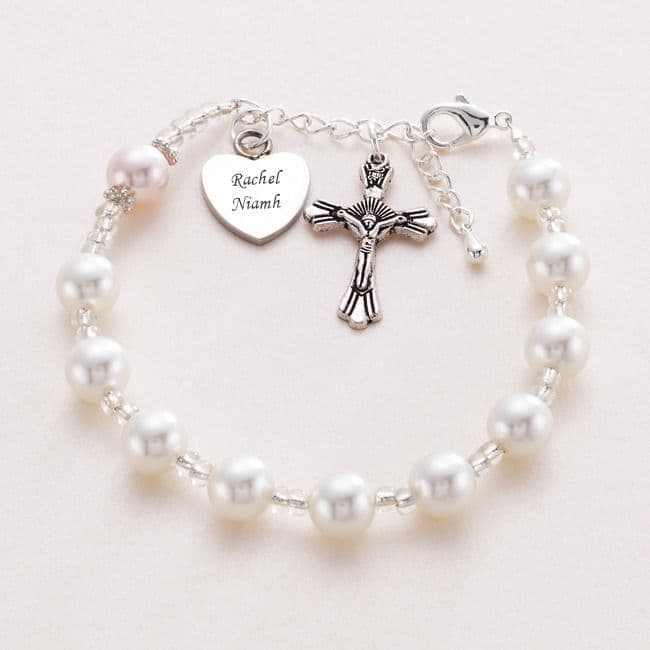 Rosary Bracelet With Engraved Heart | Jewels 4 Girls