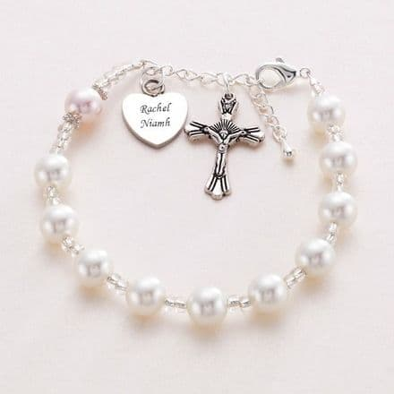 Rosary Bracelet With Engraved Heart
