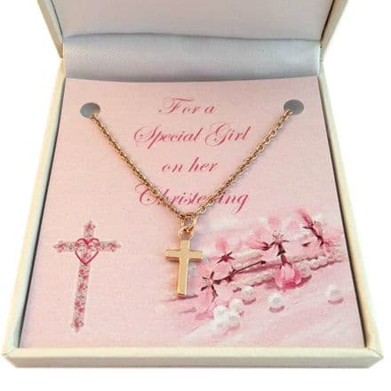 Rose Gold Christening Necklace with Cross & Card Choice