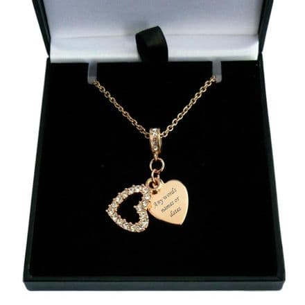 Rose Gold Heart Necklace Personalised with Engraving
