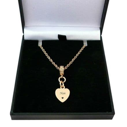 Rose Gold Heart Necklace Personalised with Engraving, Gift Boxed
