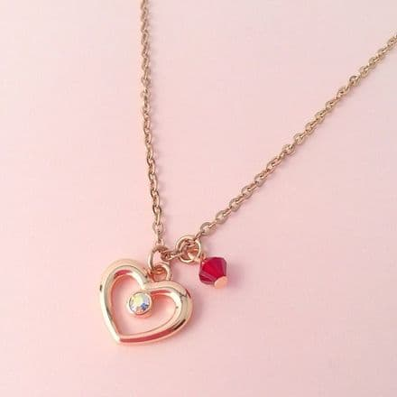 Rose Gold Heart Necklace with Birthstone