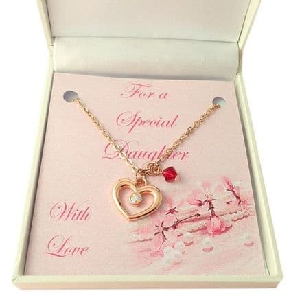 Rose Gold Necklace with Birthstone for Bridesmaid or Flower Girl