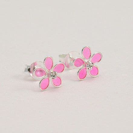 Silver and Pink Flower Earrings