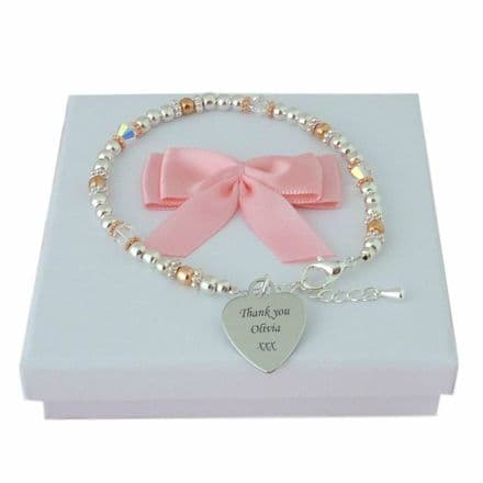 Silver and Rose Gold Plated Bracelet with Engraving