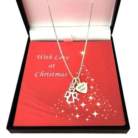 Silver Angel Necklace with Engraved Tag for Christmas